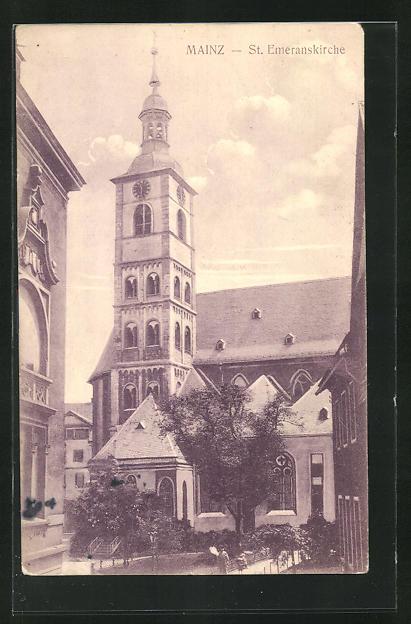 AK Mainz, Teilansicht der St. Emeranskirche