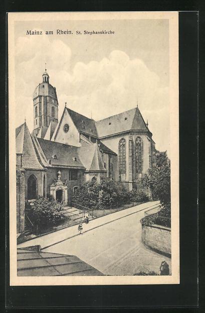 AK Mainz, Blick zur St. Stephanskirche