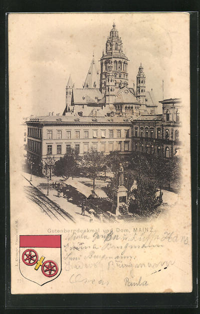 AK Mainz, Gutenbergdenkmal und Dom