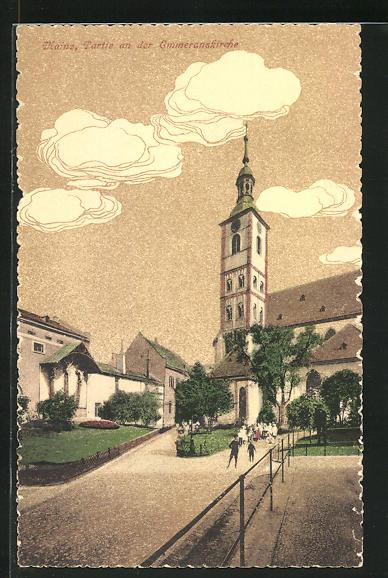 AK Mainz, Strassenpartie an der Emmeranskirche