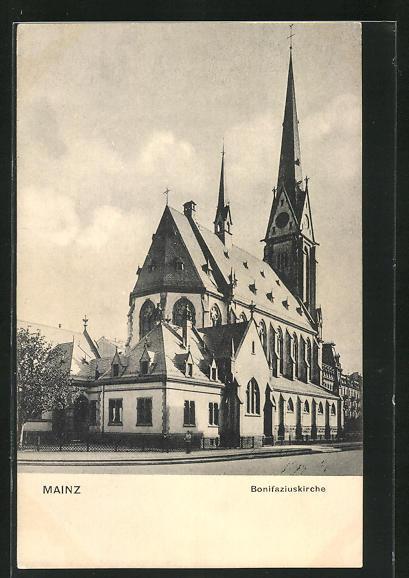 AK Mainz, Totalansicht der Bonifaziuskirche