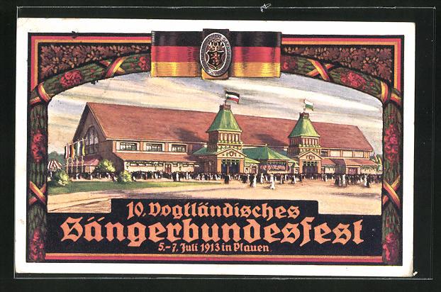Künstler-AK Plauen, 10. Vogtländisches Sängerbundesfest 1913, Festhalle