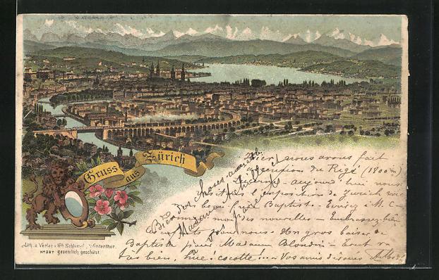 Vorläufer-Lithographie Zürich, 1894, Panoramablick auf Stadt und See