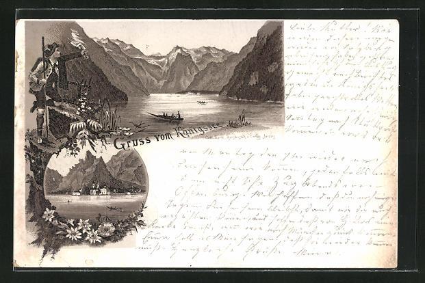Vorläufer-Lithographie Königssee, 1893, Bergsteiger grüsst Boote auf dem See, Blick zur Ortschaft