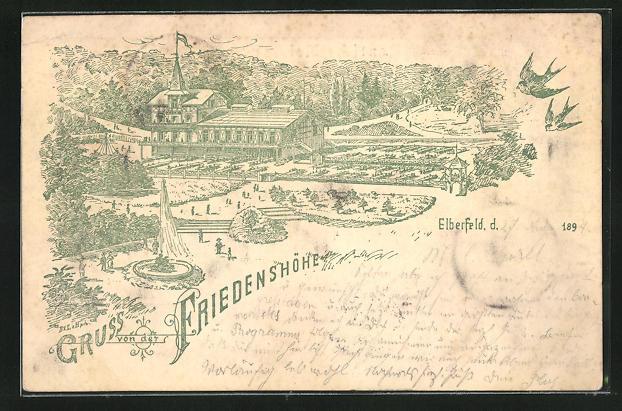 Vorläufer-Lithographie Elberfeld, 1894, Gasthaus zur Friedenshöhe mit Gartenanlagen