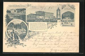 Vorläufer-AK Ganzsache PP9F284 /02: Hotel auf dem Brocken, 1895, Hotel Hohnstein, Schutzhütte auf dem Benneckenberge