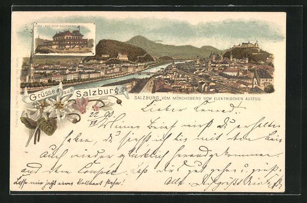 Vorläufer-Lithographie Salzburg, 1890, Hotel auf dem Gaisberg, Panorama vom Mönchsberg