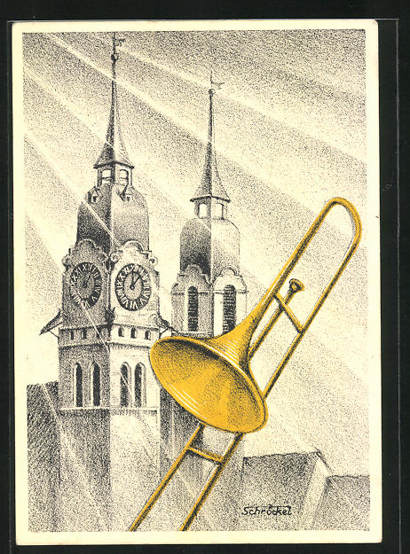 Künstler-AK Winterthur, V. Schweiz. Posaunentag 29. Mai 1932