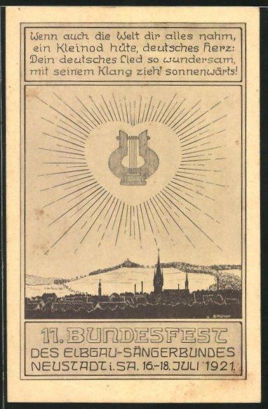 AK Neustadt i. Sa., 11. Bundesfest des Elbgau-Sängerbundes 1921, Lyra im strahlenden Herz