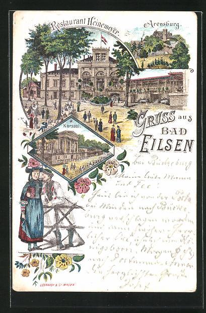 Vorläufer-Lithographie Bad Eilsen, 1895, Restaurant Heinemeyer, Kursaal, Arensburg