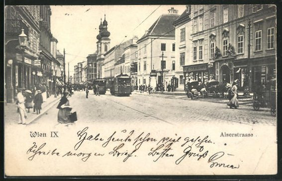 AK Wien, Strassenbahn in der Alserstrasse