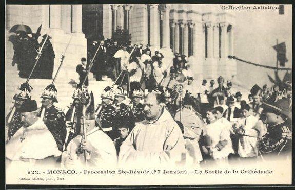 AK Monaco, Procession Ste-Dévote, la Sortie de la Cathédrale
