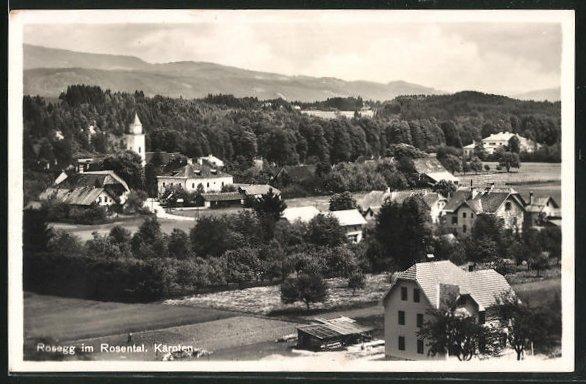 AK Rosegg im Rosental, Teilansicht der Ortschaft