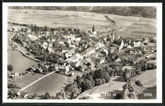 AK Oberwölz, Fliegeraufnahme vom Dorf