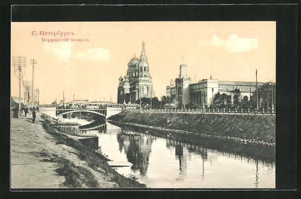 AK St. Pétersbourg / St. Petersburg, La Gare de Varsovie, Warschauer Bahnhof