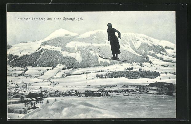AK Kitzbühel, Komtesse Lamberg am alten Sprunghügel