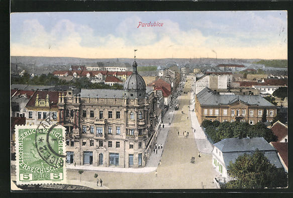 AK Pardubice, Blick in eine Strasse