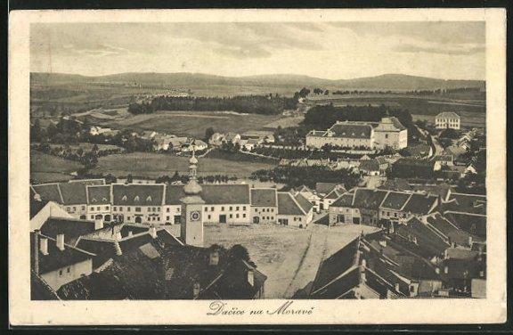 AK Dacice na Morave, Teilansicht der Ortschaft