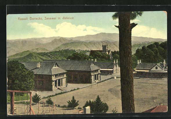 AK Kasauli, Barracks, Teilansicht mit Kirche