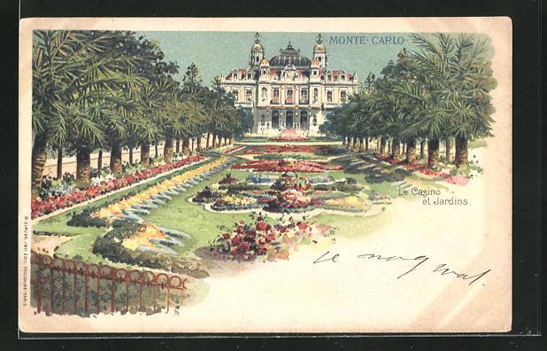 Lithographie Monte-Carlo, Le Casino et Jardins