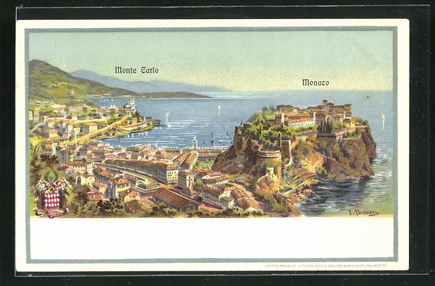 Lithographie Monaco, Gesamtansicht mit Wappen