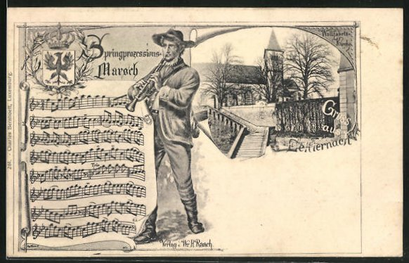 AK Echternach, Wallfahrtskirche, Springprozessions-Marsch und Wappen