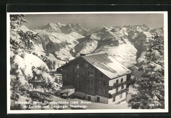 AK Kitzbühel, Hotel Ehrenbachhöhe m. Loferer und Leoganger Steinberge