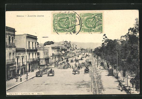 AK Mexico-City, Avenida Juarez, Strassenpartie im Zentrum