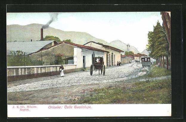 AK Orizaba, Calle Guadalupe, Strassenbahn
