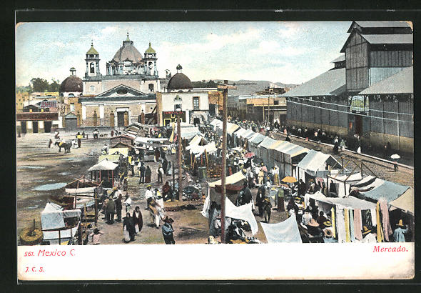 AK Mexico-City, Mercado, Blick auf den Marktplatz