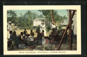 AK Kamerun, Faktorei Gross-Batanga, Gummi-Wäsche u. -Schneiden