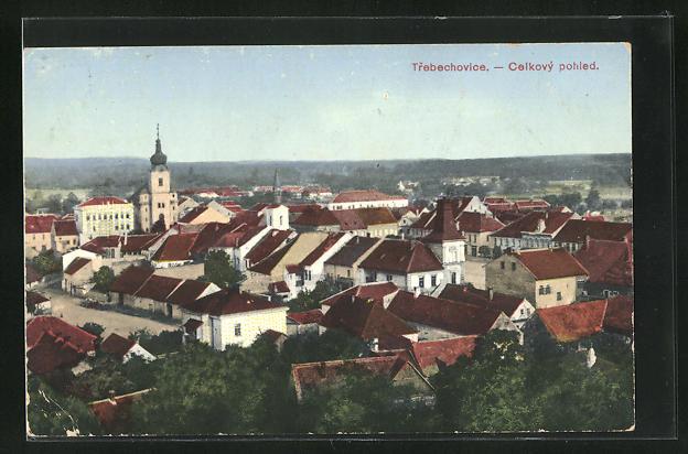 AK Trebechovice, Celkovy pohled, Ortsansicht mit Blick auf Kirche