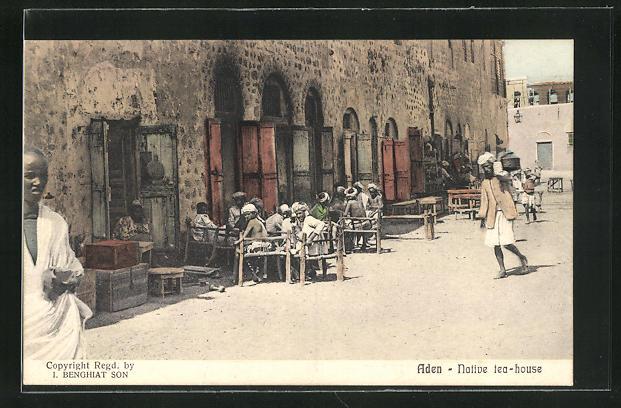 AK Aden, Native tea-house, Strassenpartie