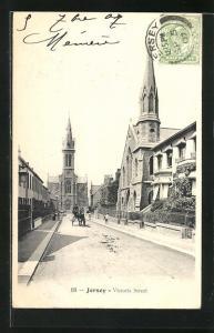 AK Jersey, Victoria Street, Motiv mit Kirchen