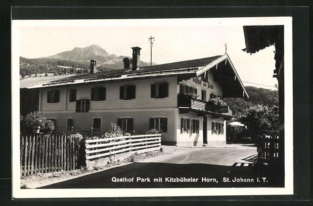 AK St. Johann, Gasthof Park mit Kitzbüheler Horn