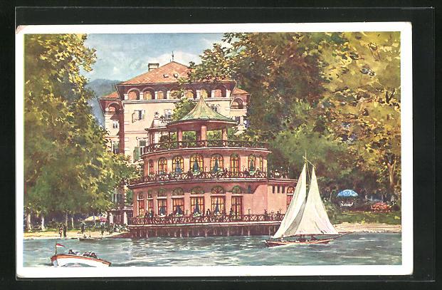 Künstler-AK Pörtschach am Wörthersee, Blick vom See auf die Astoria-Bar