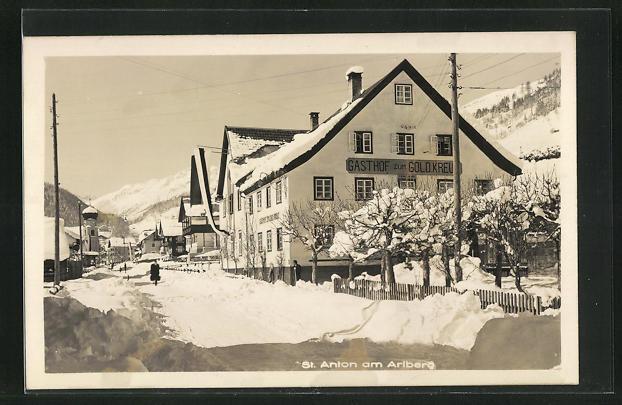 AK St. Anton am Arlberg, Gasthof zum Goldenen Kreuz im Winter