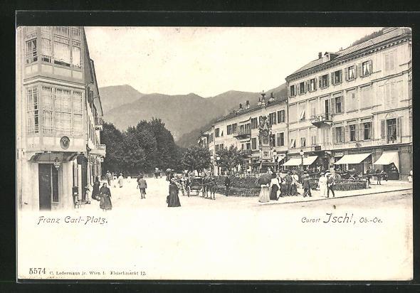 AK Bad Ischl, Strassenpartie am Franz Carl-Platz