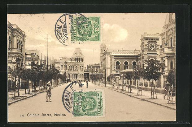 AK Colonia Juarez, Strassenpartie im Zentrum