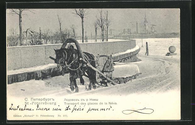 AK St. Petersburg / St-Pétersbourg, Transport des glaces de la Néva
