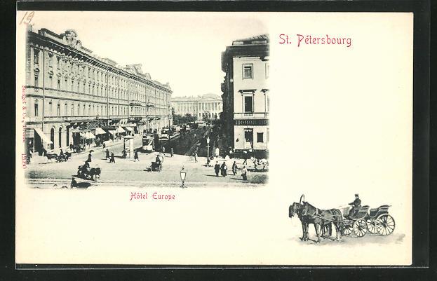 AK St. Petersburg / St-Pétersbourg, Strassenpartie am Hotel Europe
