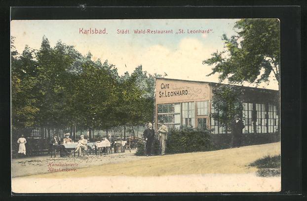 AK Karlsbad, Städt. Wald-Restaurant St. Leonhard