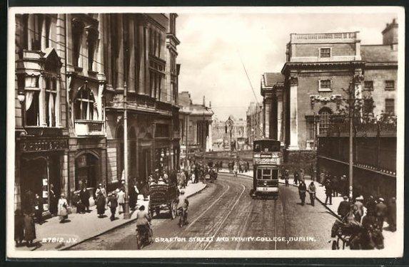 AK Dublin, Grafton Street and Trinity College, Strassenbahn