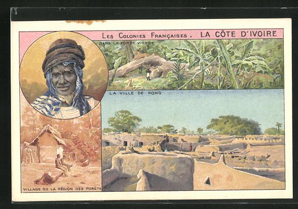 AK La Cote d`Ivoire, Dans la Foret Vierge, La Ville de Kong, Village de la Region des Forets