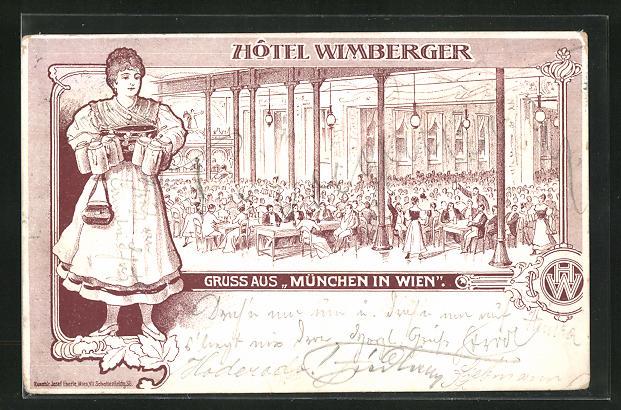 AK Wien, Hotel Wimberger, Innenansicht, München in Wien, Frau mit Bierkrügen