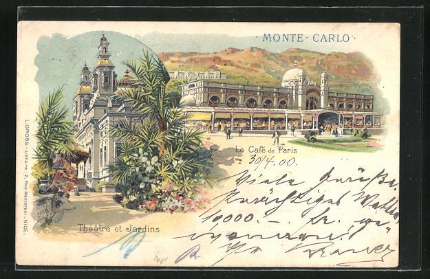 Lithographie Monte-Carlo, Le Cafe de Paris, Théatre et Jardins