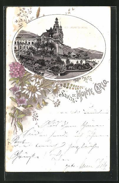 Lithographie Monte-Carlo, Les Jardins du Casino