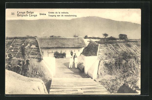 AK Uvira, Entrée de la redoute, Ganzsache Belgisch Congo