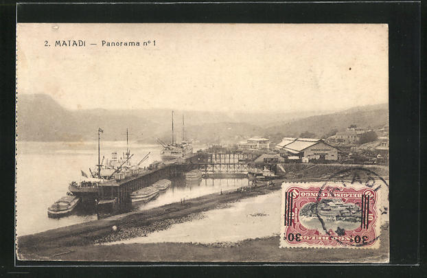 AK Matadi, Teilansicht mit Hafen