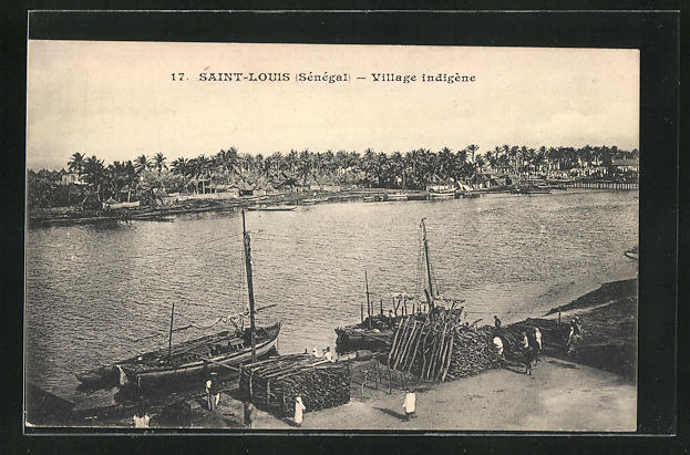 AK Saint-Louis, Village indigène, Dorf am Fluss